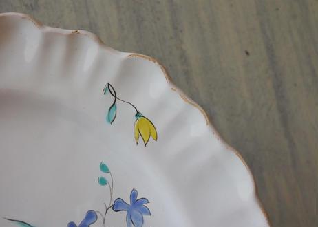 18世紀 ムスティエ 薔薇とチューリップ 絵付け皿〖202104-62〗