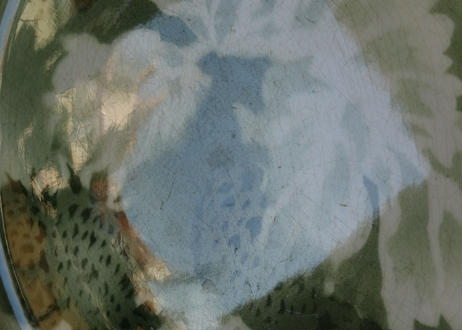 St AMAND サンタマン 深いグリーンのぼかし フランボワーズ柄 プレート