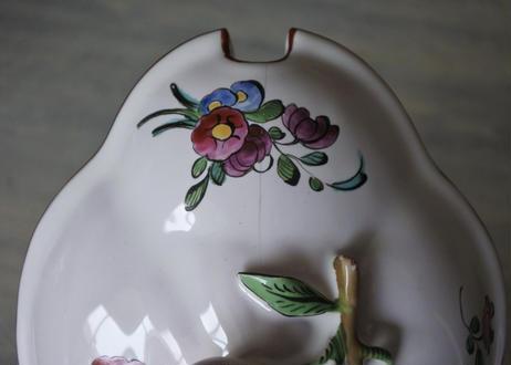 18世紀 白釉 美しいお花の絵付け シュクリエ〖202101-29〗