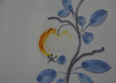 ☆ギャルリーイデコ☆ 19世紀 南仏陶器 淡いりんご柄のお皿 #2〖202109-07〗
