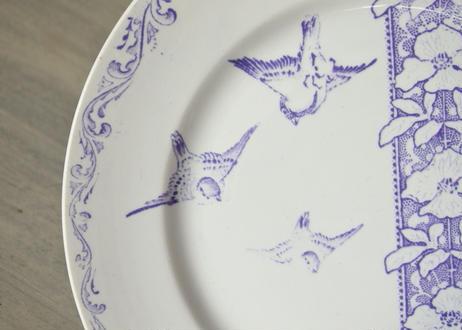 クレイユエモントロー モーヴ色 小鳥柄 ディナー皿 22.8cm 【202103-16】