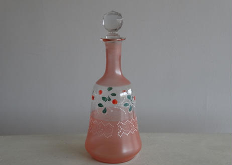 フランスアンティーク ガラス製ボトル ピンク色とお花のエナメル