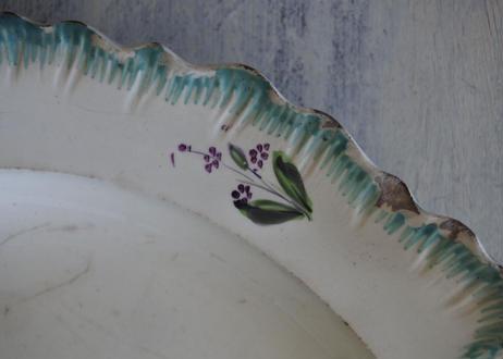 クリームウェア シェルレリーフリム お花の絵付け プレート #1〖202107-39〗