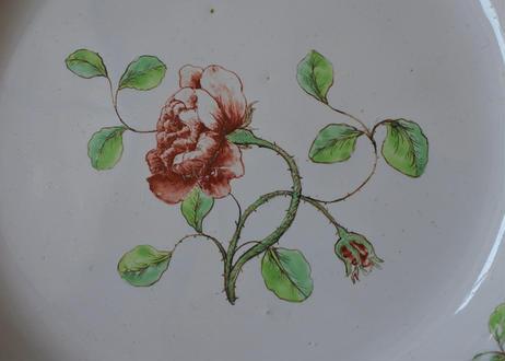 ※記録用 18世紀 ソー窯 お花の絵付け ギザギザリムプレート