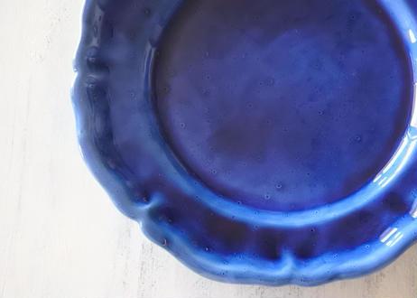ヴィンテージ 青釉 花リム デザート皿 #2〖202107-34〗