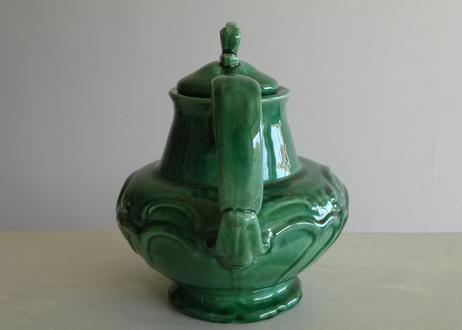南仏陶器 緑釉のぽってりティーポット