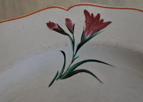 18世紀 イタリア ボローニャ窯 お花の絵付けプレート〖202104-66〗