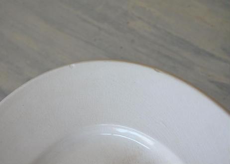 ファイアンス オーバル 白い 大型プレート 34x24cm〖202106-28〗