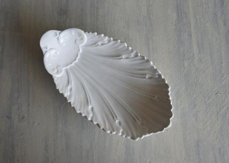 グリニー窯 アカンサスの葉レリーフ 白いラヴィエ〖202101-40〗