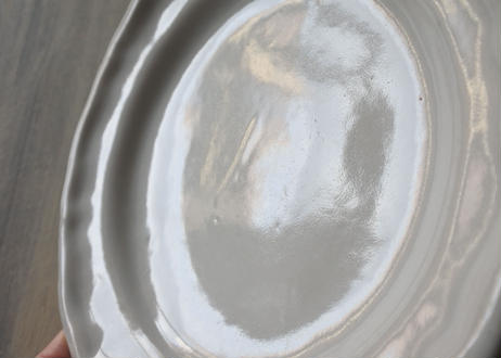 南仏陶器 白釉の 丸リム皿 直径23.7cm #2〖202101-15〗