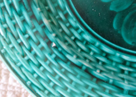 バルボティーヌ リュベル窯 グリーンのデザート皿 プルーン