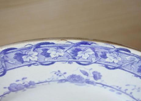 クレイユエモントロー モーヴ色のお花柄 ディナー皿 23cm Bランク#3【202102-32】