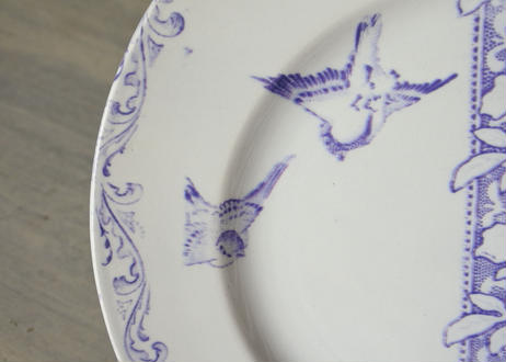クレイユエモントロー モーヴ色 小鳥柄 デザート皿 20.5cm 【202103-18】