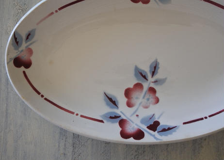 ラヴィエ オーヴァル型 セラノール サンタマン 赤いお花のぼかし柄〖202106-18〗