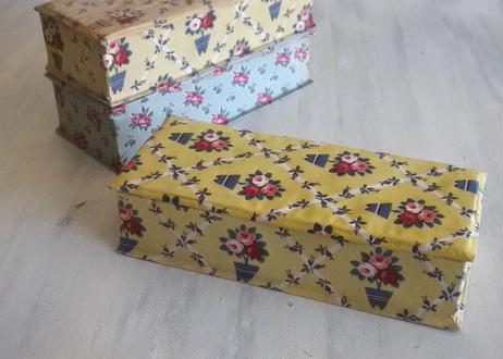 カルトナージュボックス BOX 黄色 薔薇柄 24x10.2cm #1〖202104-09〗