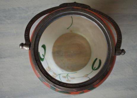 ヤドリギ ガラス製 ビスケットバレル クッキージャー 高さ18.7cm