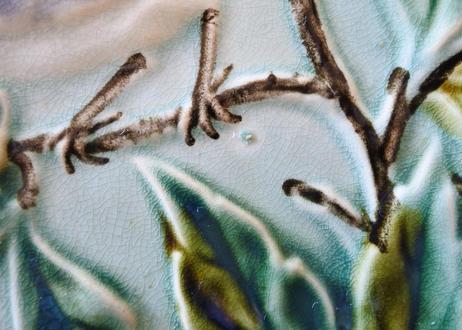 バルボティーヌ ニミイ窯 デザートプレート枝に止まる2羽の鳥 水色〖2020102-29〗