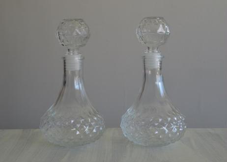 ヴィンテージ ガラス製 ビネガー&オイルボトル 2個セット