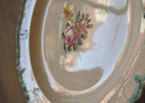 クリームウェア シェルレリーフリム お花の絵付け プレート #3〖202107-41〗