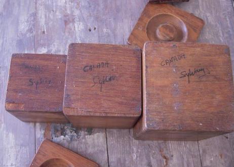 カナダ製 ニワトリ柄の木製調味料入れ / キャニスター / スパイス入れ 3個セット