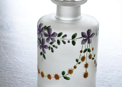 すみれ 菫 スミレ のエナメル フロストガラス 小さなボトル 高さ12.2cm