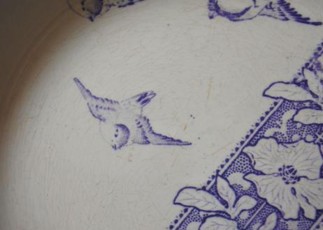 クレイユエモントロー モーヴ色 小鳥柄 深皿 23cm 【202103-17】