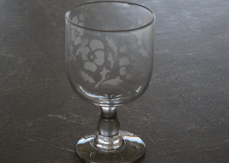 アンティークグラス パンジー柄 エッチング グラス 高さ13.2cm #2