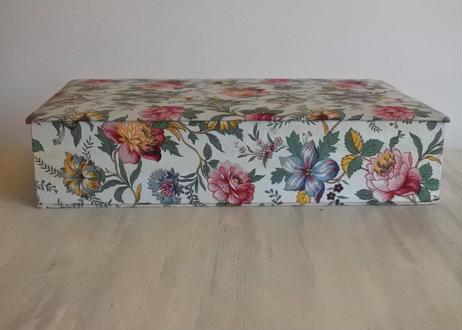 カルトナージュボックス BOX 水色 お花柄 39.9x23.4cm〖202104-05〗