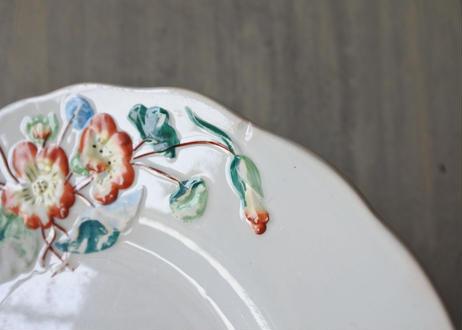クレイユエモントロー お花のレリーフ カラー デザート皿〖202102-15〗