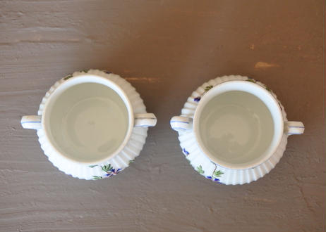 ピリヴィイ社 青いヤグルマギク ポーセリン製デザートカップ Aランク 2個セット〖202109-25〗