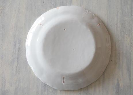 南仏陶器 白釉の 花リム皿 直径25cm〖202101-16〗