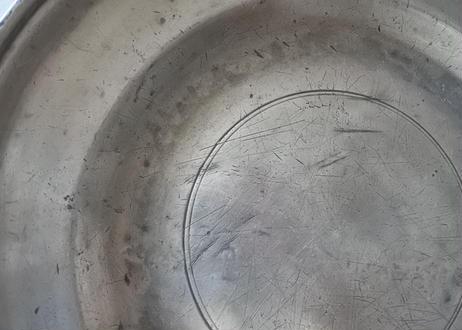 アンティーク ピューター 丸リムプレート直径29.5cm〖202108-051〗