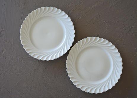 リモージュ アヴィランド 白いポーセリン デザート皿 19.5cm 2枚セット〖202109-17〗