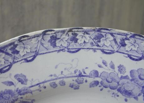 クレイユエモントロー モーヴ色のお花柄 ディナー皿 23cm Bランク#1【202102-30】