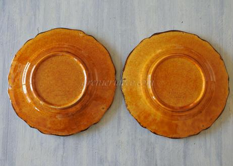 デュルフィ窯 黄釉 花リムデザートプレート 直径23cm Aランク〖202101-18〗