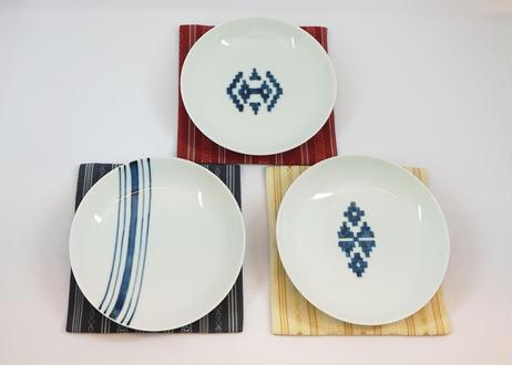 有田焼 献上豆皿3枚セット  (博多織コースター付)