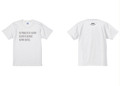 "Genius P.J's 20th anniversary      T-shirt  ""no problem of human destiny is beyond  human beings"""