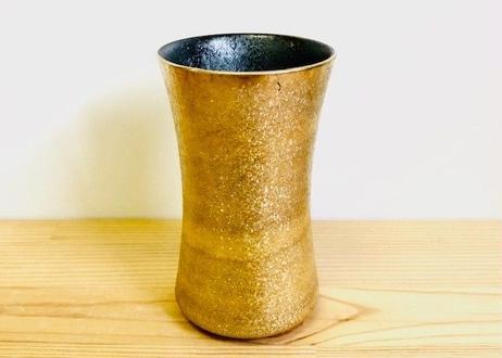黒柚子内晶外金塗り杵型ビアグラス