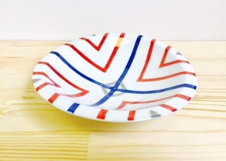二色染付十草楕円平鉢