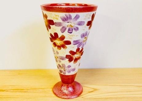 赤パール花絵ビアグラス