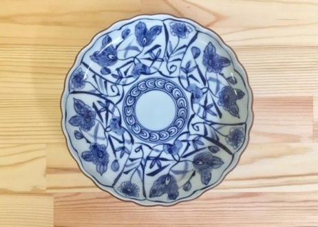 [陶器市] 染付花絵渕サビ皿(大)