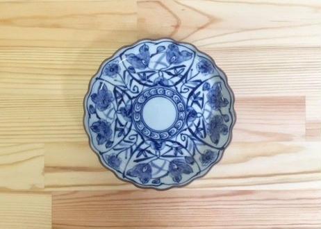 [陶器市] 染付花絵渕サビ皿(小)