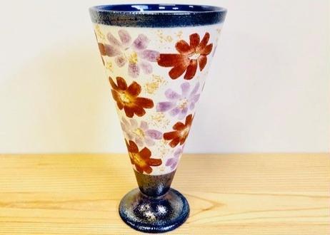 青パール花絵ビアグラス