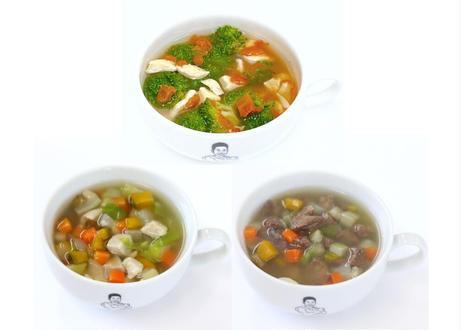ザ・パワースープ 【3種類】食べ比べセット(トマト&ブロッコリー3パック・馬肉2パック・鶏胸肉2パック入り)