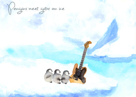 氷上でペンギンとギターが出逢うファブリックパネル・小