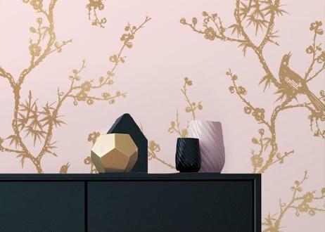 壁紙シール2.5M 【バードウオッチング・ピンク】ワイドサイズ