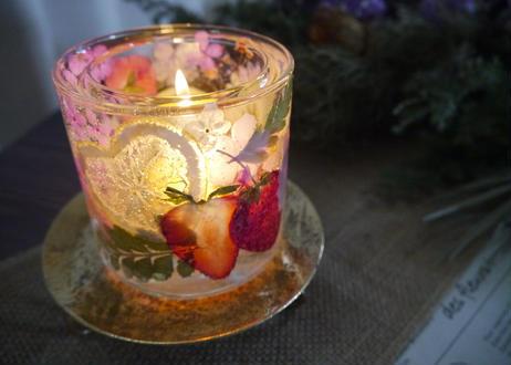 《楽園キャンドルホルダー》色とりどり春の夢(ピンクガーベラ)