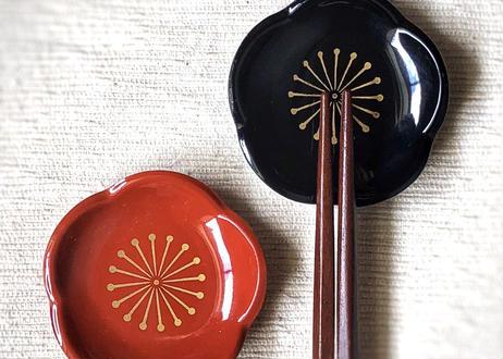 【ギフト】2膳入/能登ヒバ 輪島拭き漆箸&梅の箸置きセット