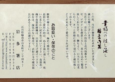 【送料無料】抗菌 輪島拭き漆どっちも使える箸【利休箸】