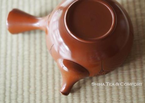常滑焼山田宝生朱泥急須 HOUSEI YAMADA Plum Flower Hand Carving Kyusu